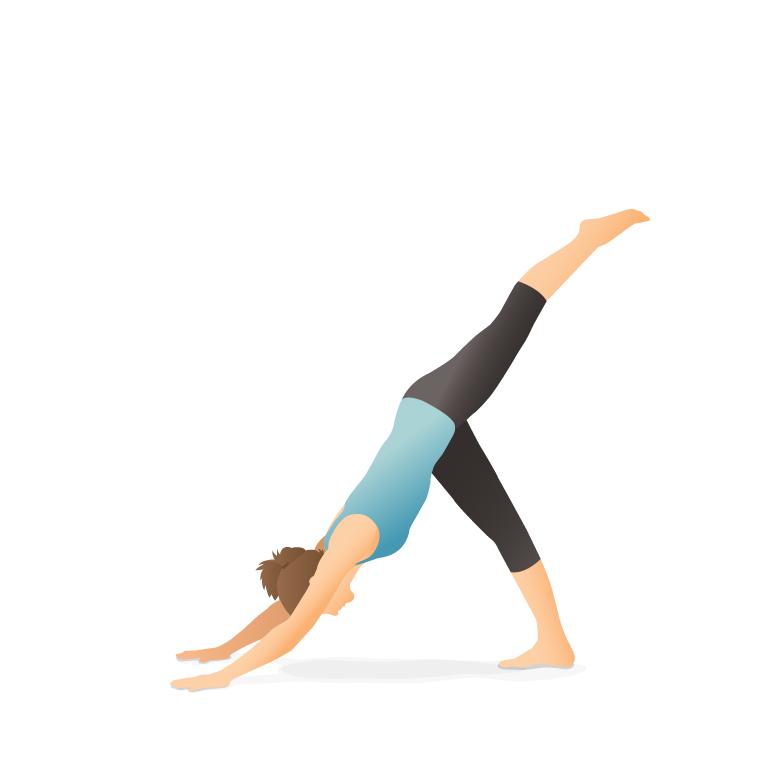 یوگا - حرکت سگ سر پایین روی یک پا